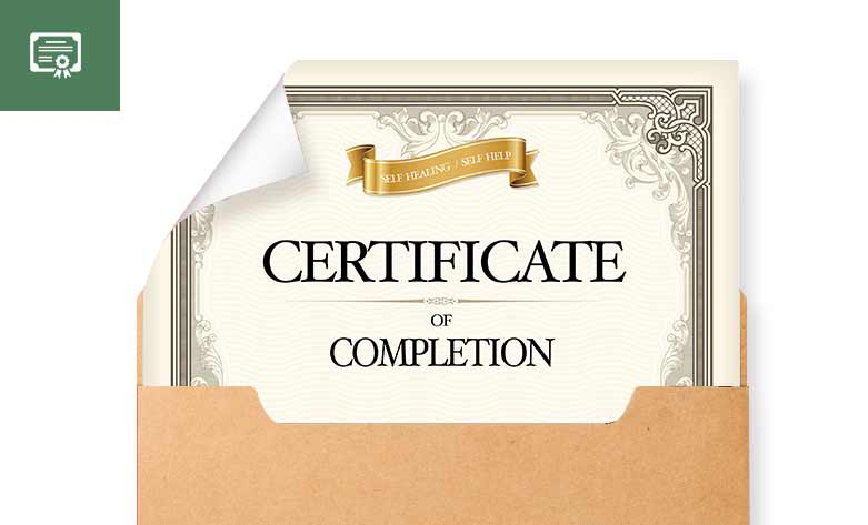 Self Healing Certificate of completion - Healing Courses Online